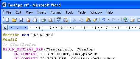 Microsoft Word displays document exported to Rich Text Format (RTF)