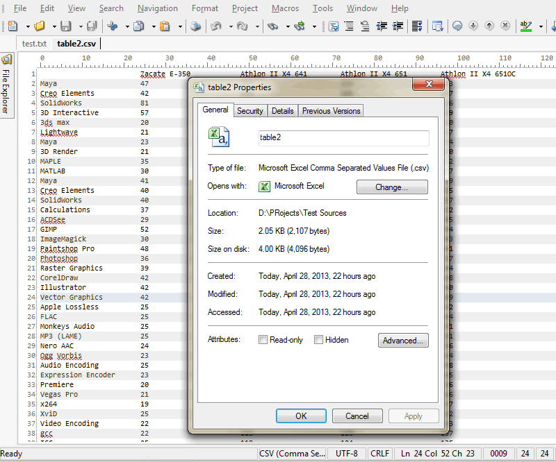 File Properties dialog in HippoEDIT