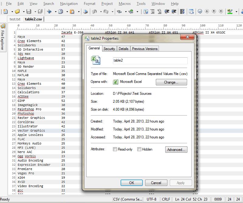 File Properties dialog in HippoEDIT
