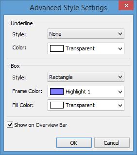 Advanced Style Settings dialog