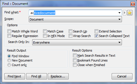 Search dialog with auto-complete feature