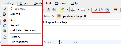 Perforce toolbar and menus