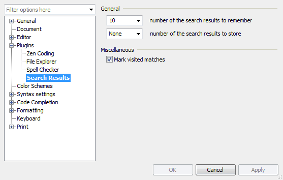 Search Results settings