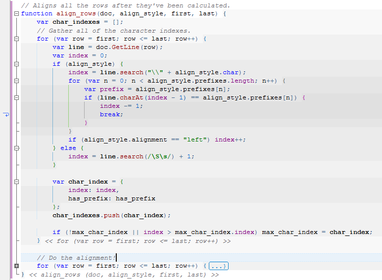 Nesting levels display in JavaScript code