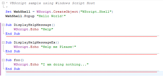 Scope separators between Subroutines in Visual Basic Script example